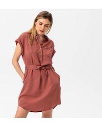 Promod Robe-chemise ceinturée - Rouge