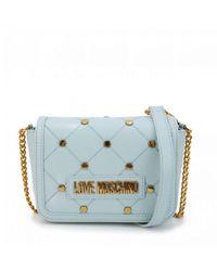 Moschino Stud Quilt Crossbody Bag - Blue