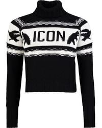 DSquared² Icon Maple Leaf Roll Neck Cropped Knit - Black