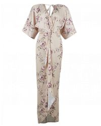 Hope and Ivy Floral Maxi Kimono Style Dress - Pink