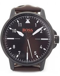 BOSS Orange - Chicago Brown Leather Strap Watch - Lyst