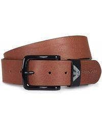 Armani Jeans - Eagle Logo Buckle Leather Belt - Lyst