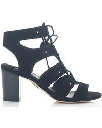 Moda In Pelle Ghillie Style Heeled Gladitor Sandals - Black