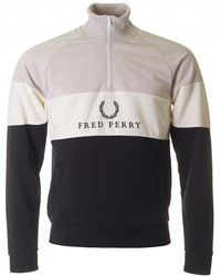 Fred Perry - Panel Half Zip Sweat - Lyst