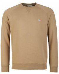 Maison Kitsuné Tri Color Fox Patch Sweatshirt - Natural