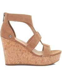 UGG - Whitney Cork Wedge Suede Sandals - Lyst
