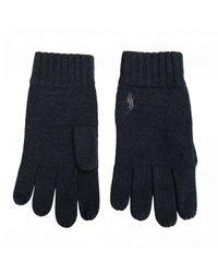 Polo Ralph Lauren Mens Wool//Cotton Tech Gloves One Size Dark Grey