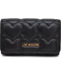 Love Moschino Heart Quilt Small Wallet - Black