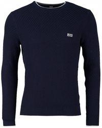 BOSS - Athleisure Ridney Textured Crew Neck Cotton Knit - Lyst