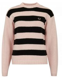 Fred Perry Striped Logo Knit - Pink