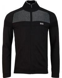 BOSS by Hugo Boss Zamot Full Zip Contrast Knit - Black