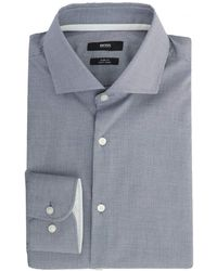BOSS - Jery Micro Checked Trim Shirt - Lyst