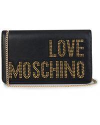 Moschino Sequin Logo Chain Clutch Bag - Black