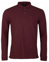 BOSS by Hugo Boss Pado 10 Long Sleeved Pique Polo Shirt - Purple