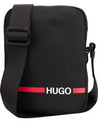 HUGO Reporter Bag In Nylon Gabardine With Contrast Logo Stripe - Black