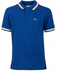 Lacoste - Striped Trim Polo Shirt - Lyst