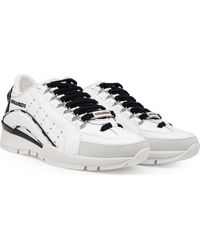 DSquared² Piping Logo Leather Trainers - White