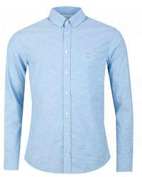 BOSS by Hugo Boss Mabsoot Long Sleeved Oxford Shirt - Blue