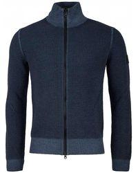 BOSS Casual Afurly Full Zip Through Wool Knit - Blue