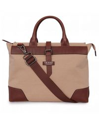 Ted Baker Canvas Recycled Laptop Bag - Natural