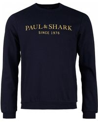 Paul & Shark - Gold Script Logo Crew Neck Sweat - Lyst