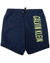 Calvin Klein Side Logo Swim Shorts - Blue