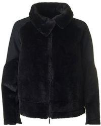 Armani Jeans - Shearling Biker Style Jacket - Lyst