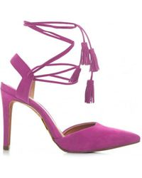 Moda In Pelle Point Toe Lace Up Tassle Shoes - Pink