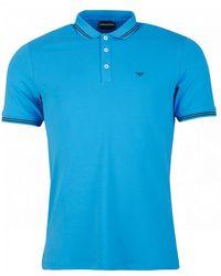 Armani Slim Fit Tipped Logo Polo - Blue