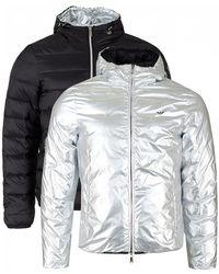 Armani - Hooded Reversible Metallic Down Jacket - Lyst