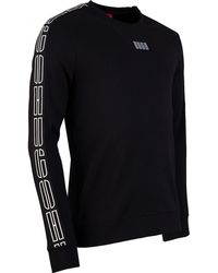 HUGO Doby Taped Sleeve Sweat - Black