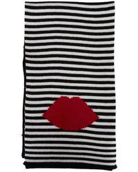 Lulu Guinness Lip Striped Knitted Scarf - Black