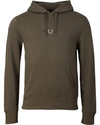 Fred Perry Embroidered Hooded Sweat - Green