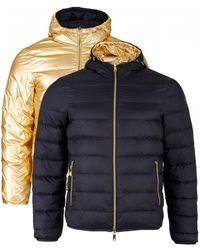 Armani Hooded Reversible Metallic Down Jacket - Blue
