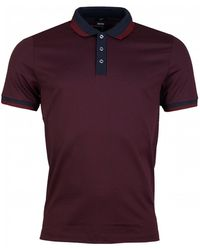 BOSS Phillipson Mini Stripe Polo Shirt - Red