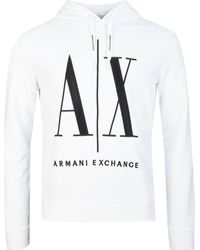 Armani Exchange Icon Pop Over Hoody - White