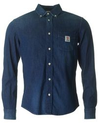 Franklin & Marshall - Martins Long Sleeved Chambray Shirt - Lyst