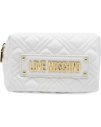 Love Moschino Small Quilted Zip Around Purse - White