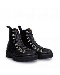 Grenson Eyelet Leather Suede Mix Hikerboots - Black