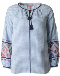 Joules - Long Sleeved Embroidered Blouse - Lyst