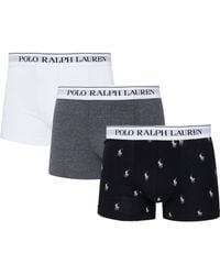 Polo Ralph Lauren 3 Pack Plain And Printed Boxer Shorts - Multicolour