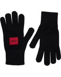 HUGO Waff Patch Logo Gloves - Black