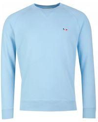 Maison Kitsuné Tri Colour Fox Patch Sweatshirt - Blue