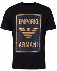 Armani Jersey T-shirt With Maxi Patch Logo - Black
