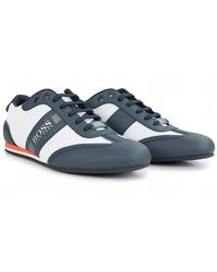 BOSS - Athleisure Footwear Lighter Low Leather Mesh Trainers - Lyst