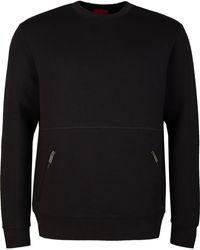HUGO Dokoda Zip Pocket Crew Neck Sweatshirt - Black