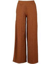 Saint Tropez Metallic Striped Jersey Pants - Brown