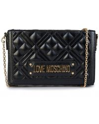 Moschino Quilted Logo Clutch Bag - Black