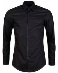 BOSS Javis Logo Tipped Evening Shirt - Black