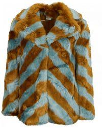 Silvian Heach Piranaba Chevron Faux Fur Coat - Blue
